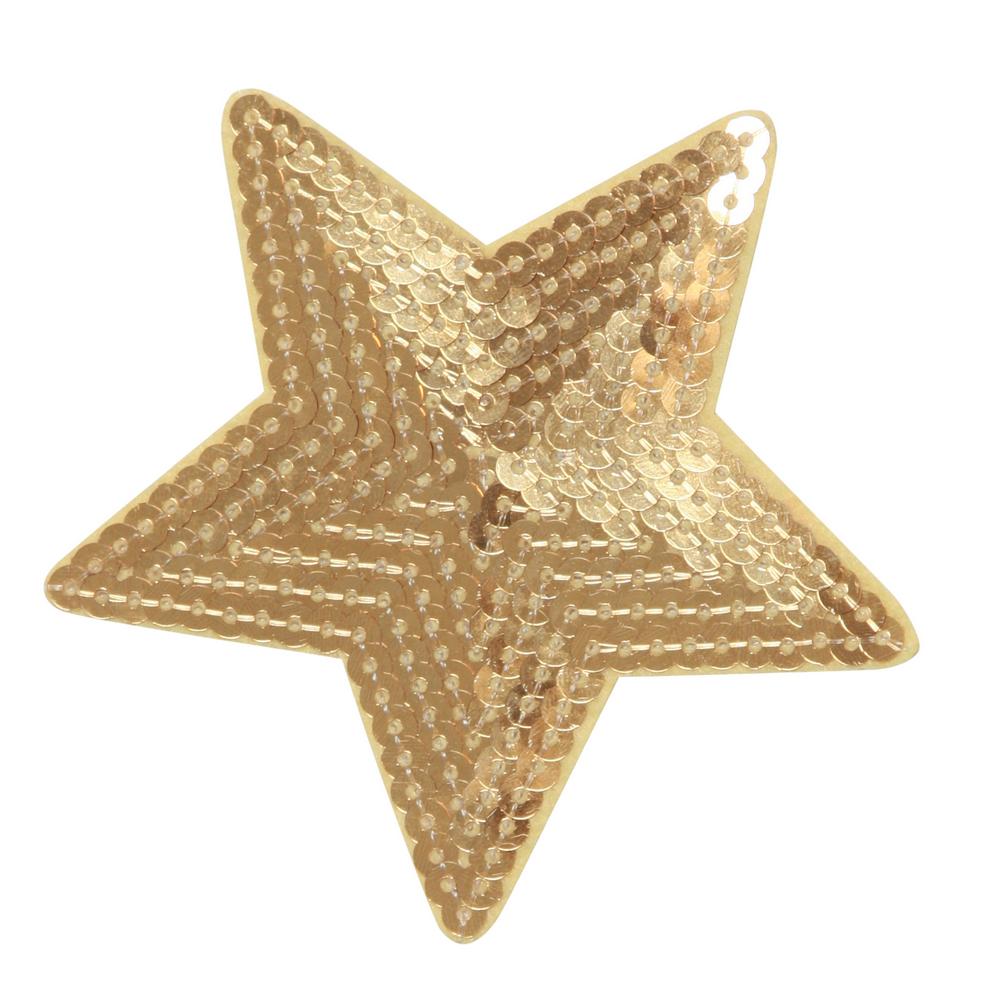 Strygemærke Stjerne Guld Palietter 9x9 Cm Stryg På Tøj